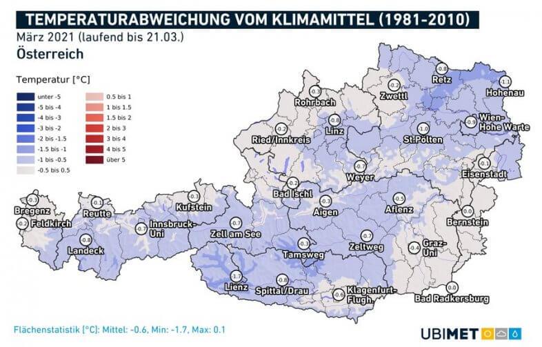 Temperaturabweichung im März 2021 bis zum 21.03. - UBIMET, ZAMG
