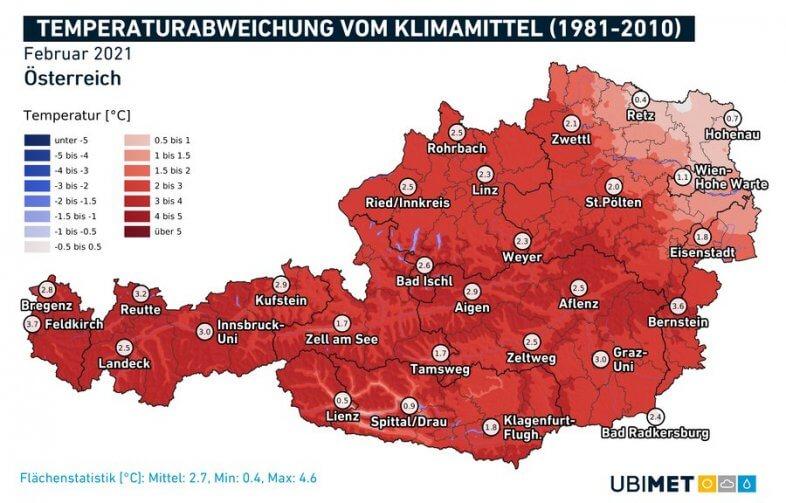 Temperaturabweichung im Februar 2021 - UBIMET, ZAMG