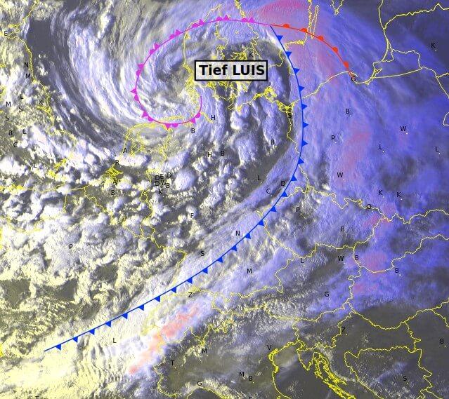 Sturmtief LUIS vom Satellit am Samstagabend - EUMETSAT, UBIMET