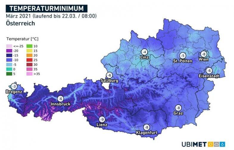 März-Tiefstwert bis zum 22.03. um 8 Uhr - UBIMET, ZAMG