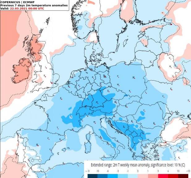 Bodennahe Temperaturanomalien für die kommende Woche über Europa - ECMWF Copernicus