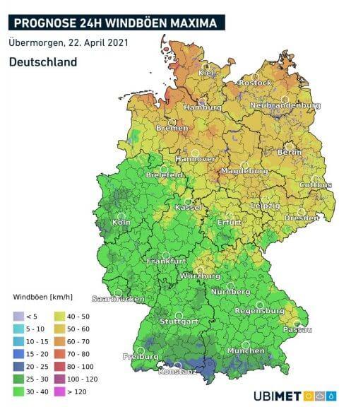 Maximale Windböen am Donnerstag - UBIMET