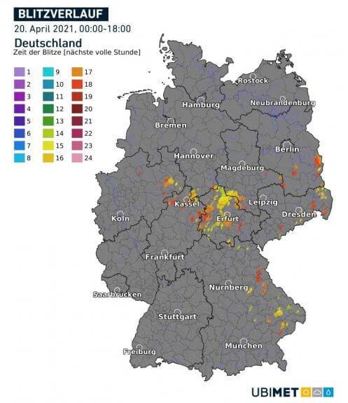 Blitzverlauf am Dienstag bis 18 Uhr - UBIMET, nowcast.de