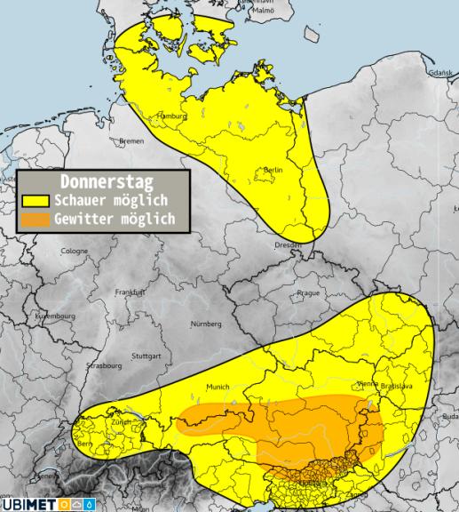 Schauer- bzw. Gewitterwahrscheinlichkeit für Donnerstag, 22. April - UBIMET