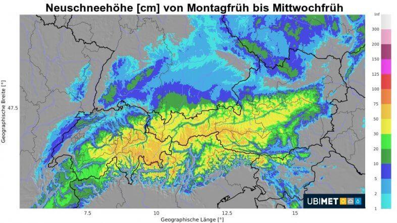 Neuschneesumme von Montagfrüh bis Mittwochfrüh - UBIMET UCM Modell