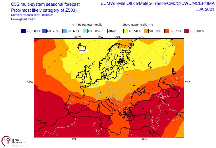 Anomalie der Wetterlage über Europa für den Sommer. Gelbliche Töne stehen für Tiefdruckeinfluss, rot eher für eine Häufung von Hochdruckgebieten - C3S-Copernicus - https://climate.copernicus.eu/