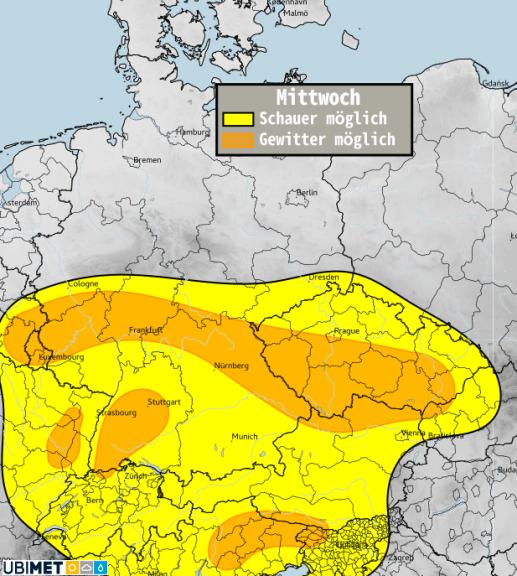 Schauer- bzw. Gewitterwahrscheinlichkeit für Mittwoch, 21. April - UBIMET