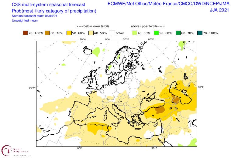 Anomalie der Niederschläge über Europa für den Sommer. Gelbliche Töne stehen für trockene Verhältnisse, grün eher für einen nassen Sommer - C3S-Copernicus - https://climate.copernicus.eu/