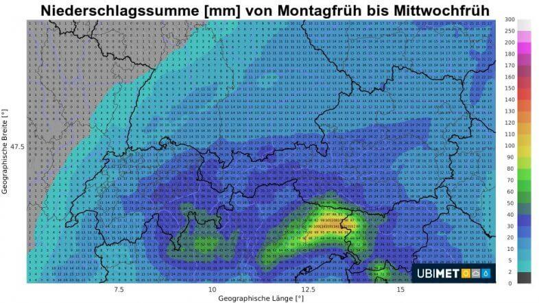 Niederschlagssumme von Montagfrüh bis Mittwochfrüh - UBIMET UCM Modell