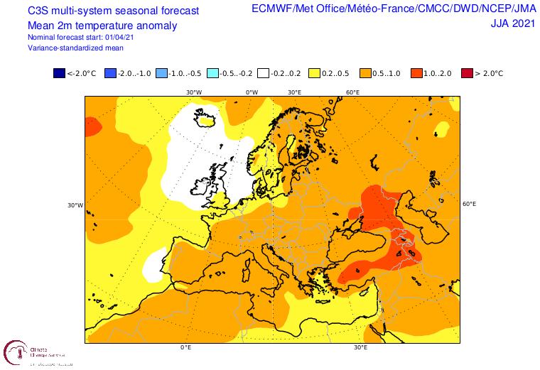 Anomalie der 2 m Temperatur über Europa für den Sommer - C3S-Copernicus - https://climate.copernicus.eu/