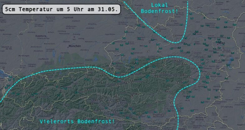 Temperatur knapp über dem Boden (5cm) um 5 Uhr früh am 31.05.2021 - UBIMET, ZAMG