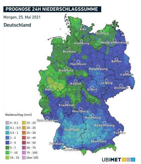 Niederschlagsmengen am Dienstag - UBIMET UCM Modell