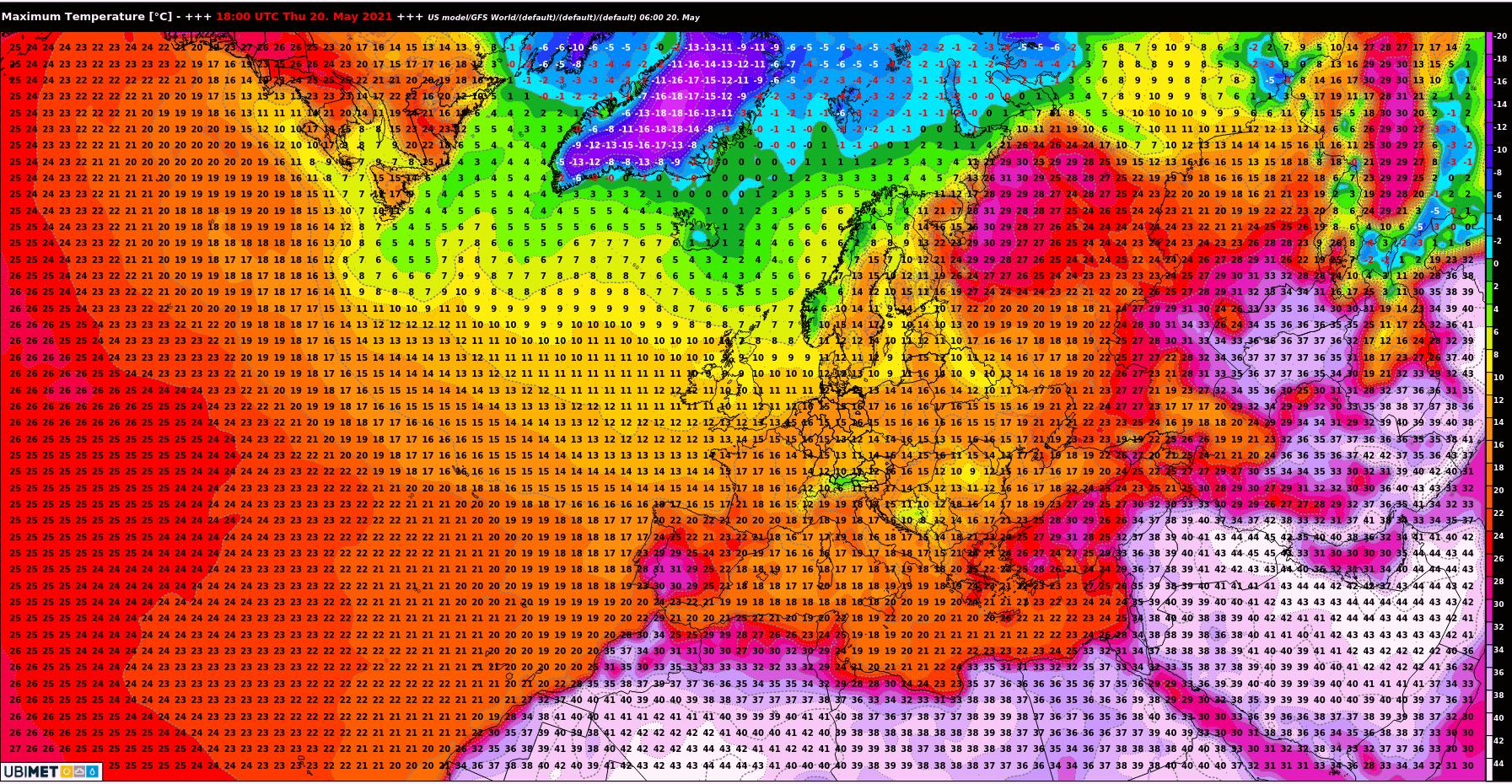 Maximumtemperatur für Donnerstag 20. Mai 2021