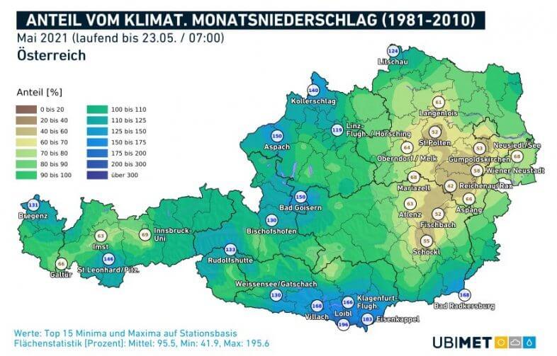 Anteil vom klimatologischen Mai-Niederschlag, der bis zum 23.05. um 7 Uhr bereits zusammengekommen ist - UBIMET