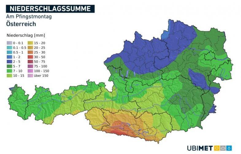 Niederschlagsmengen am Pfingstmontag - UBIMET