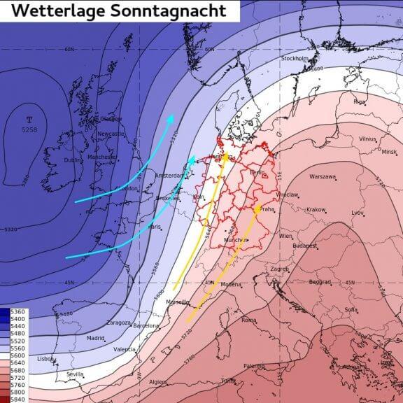 Großwetterlage in der Nacht auf Montag: Im Vorfeld eines ausgeprägten Tiefs über dem Atlantik wird sehr warme Luft aus Südwest herangeführt - ECMWF IFS, UBIMET