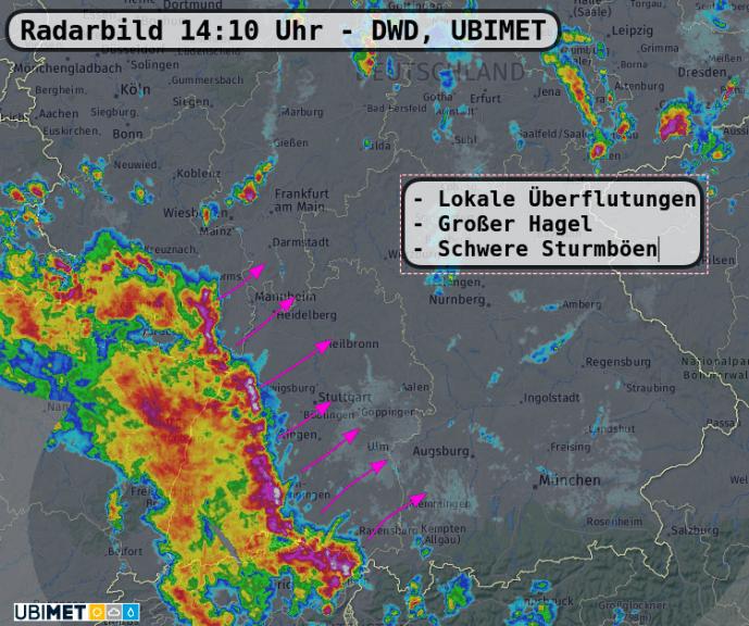 Radarbild 14:10 Uhr - UBIMET, DWD