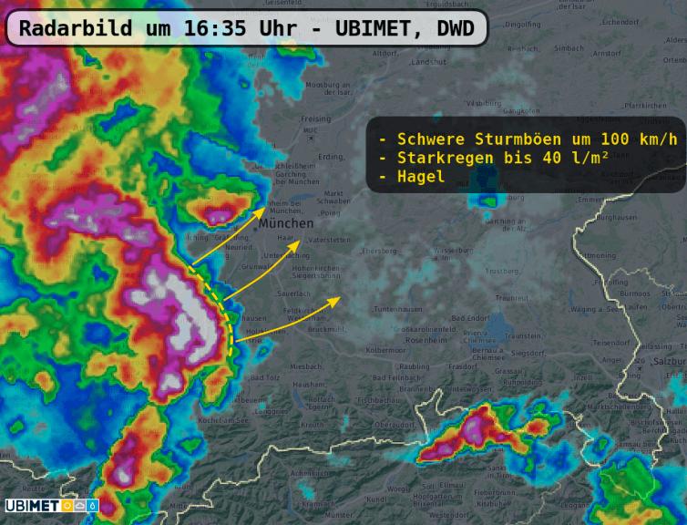 Radarbild um 16:35 Uhr - UBIMET, DWD