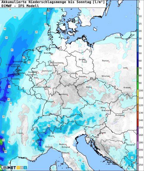 Akkumulierte Niederschlagsmenge bis Sonntagabend - ECMWF IFS Modell, UBIMET
