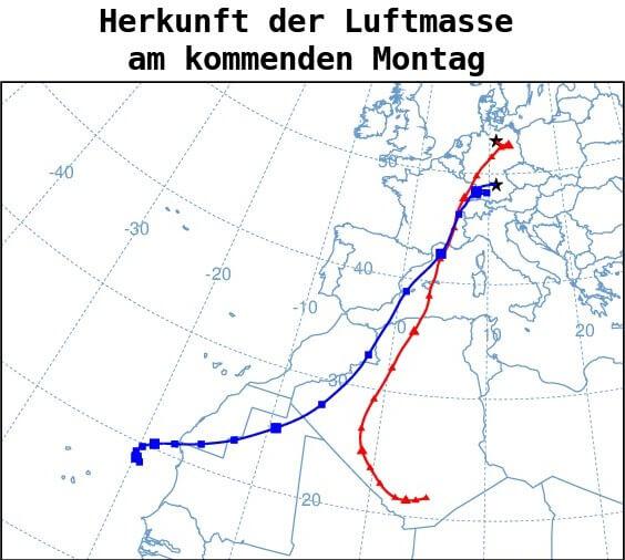 Herkunft der Luftmasse am Montag 21. Juni 2021 - NOAA ARL Hysplit Modell https://www.ready.noaa.gov/HYSPLIT.php