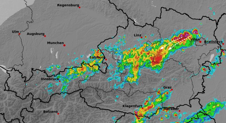 Radarbild um 15:20 Uhr - Austrocontrol, UBIMET