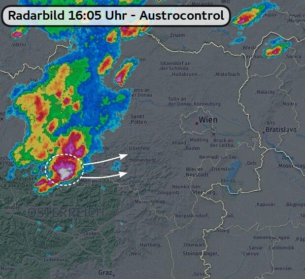Radarbild um 16:05 Uhr - Austrocontrol