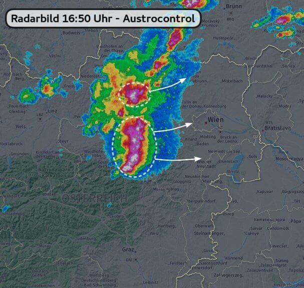 Radarbild um 16:50 Uhr - Austrocontrol