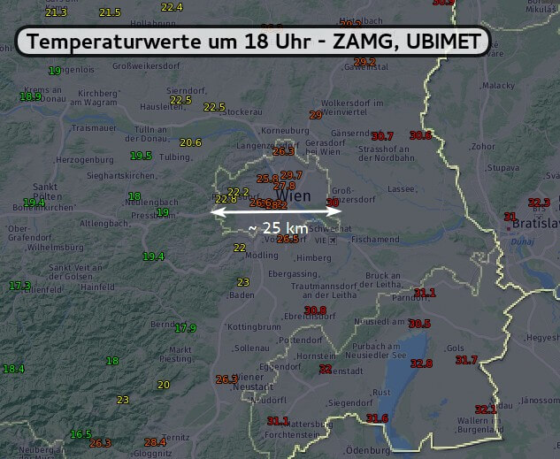 2m Temperatur um 18 Uhr [°C] - UBIMET, ZAMG