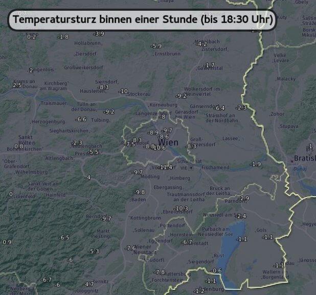 Temperatursturz binnen einer Stunde bis 18:30 Uhr - UBIMET, ZAMG