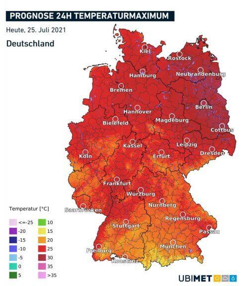 Prognostizierte Höchstwerte am Sonntag - UBIMET