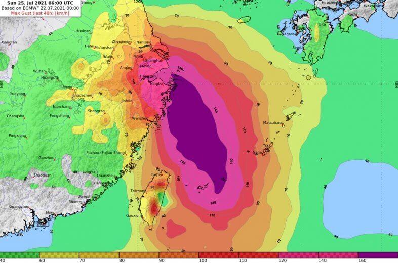 Maximale Windböen bis Sonntag entlang der Zugbahn des Taifuns - ECMWF/IFS