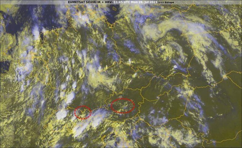 Satellitenbid um 13:45 Uhr - EUMETSAT, UBIMET