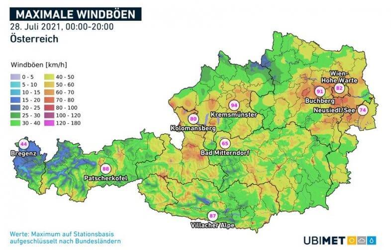 Stärkste Windböen am Mittwoch - UBIMET, ZAMG