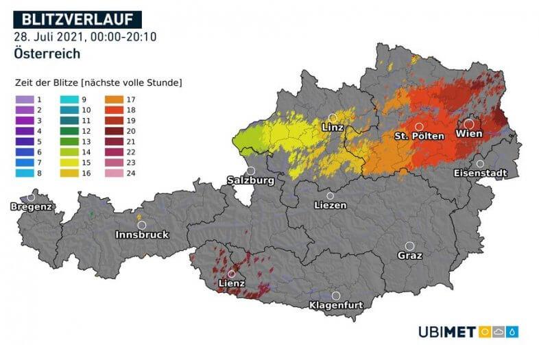 Blitzverlauf am Mittwoch - UBIMET, nowcast