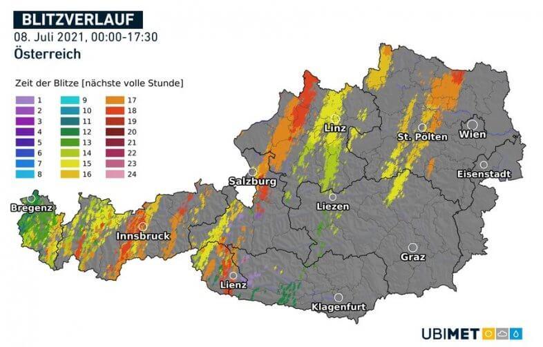 Blitzverlauf in Österreich am 08.07.2021 bis 17:30 Uhr - UBIMET, nowcast