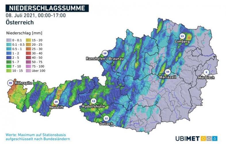Akkumulierte Niederschlagsmengen bis 17 Uhr - UBIMET, ZAMG
