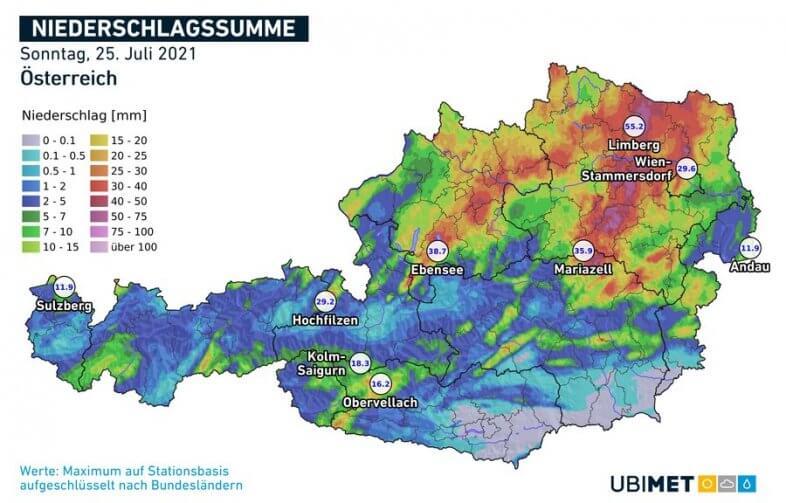 Regensumme am Sonntag - UBIMET, ZAMG