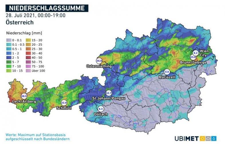 Regensumme am Mittwoch bis 19 Uhr - UBIMET, ZAMG
