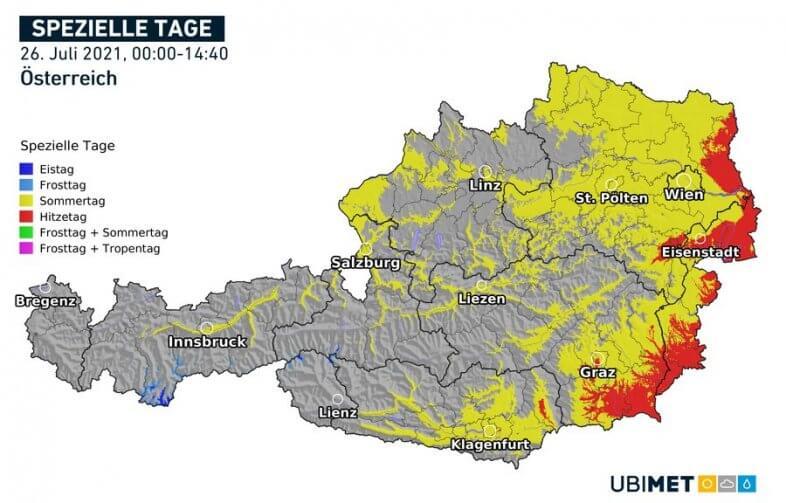 Sommer- und Hitzetag am Montag im Osten und Südosten - UBIMET