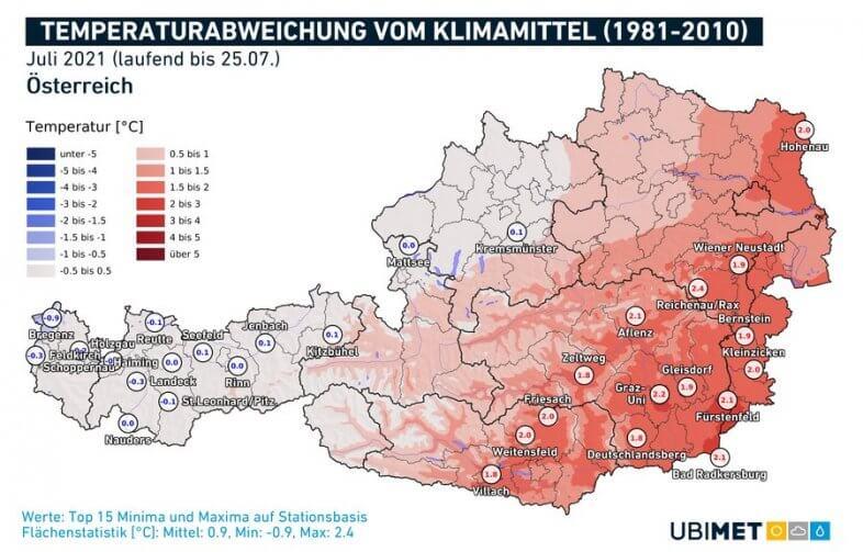 Temperaturanomalie im Vergleich zum langjährigen Mittel für den Juli - UBIMET