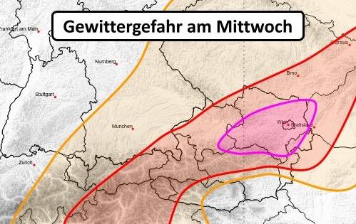 Kräftige Gewitter von Tirol bis Wien am 28.07.2021