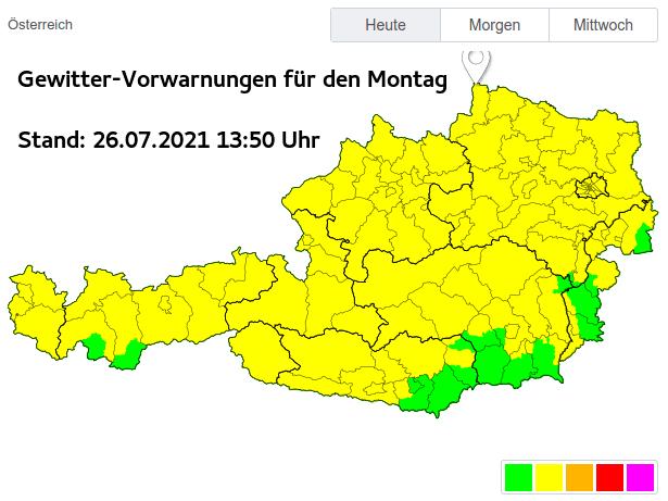 Gewitter - Vorwarnungen der Unwetterzentrale für den Montag - UBIMET, UWZ