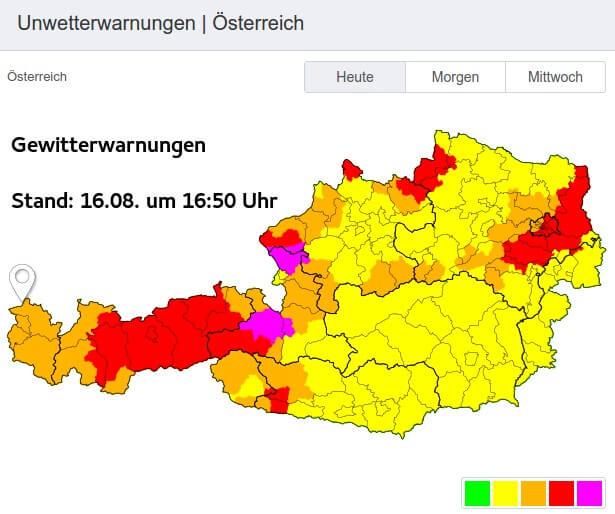 Gewitterwarnungen am Montag um 16:50 Uhr - UWZ, UBIMET