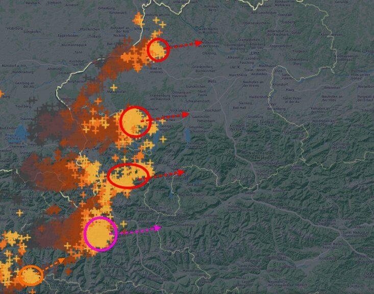 Blitze der letzten Stunde bis 17:35 Uhr und Verlagerung der heftigsten Gewitter - nowcast, UBIMET