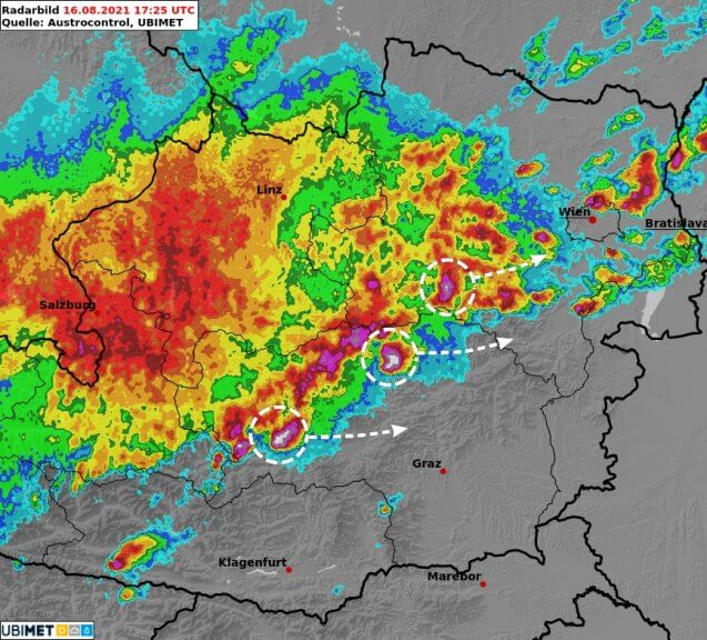Radarbild 19:25 Uhr - UBIMET, Austrocontrol