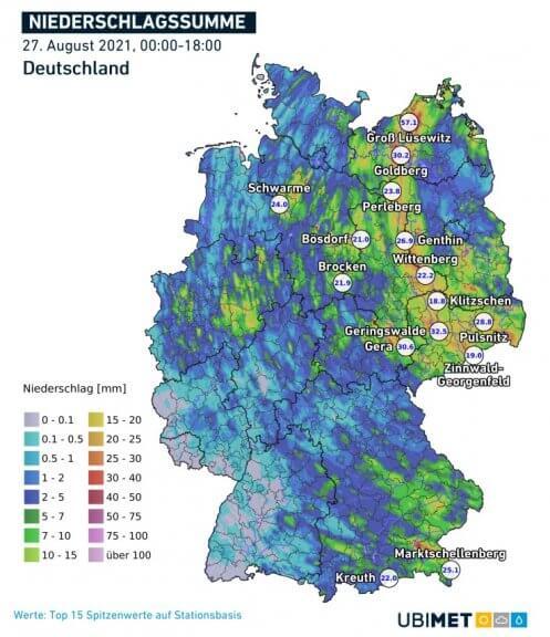 Niederschlagssumme am Freitag bis 18 Uhr - DWD, UBIMET