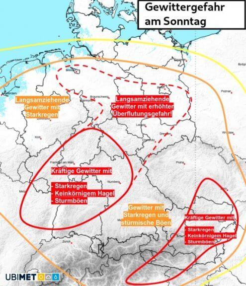 Gewitterpotential am Sonntag - UWR
