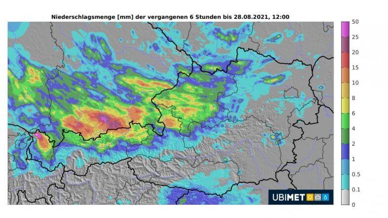 6-stündige Regenmengen bis Samstag um 12 Uhr. Das Niederschlagsmaximum im Bregenzerwald ist schwer zu übersehen - UBIMET