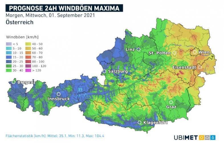 Prognose der maximalen Windböen am Mittwoch - UBIMET UCM Modell