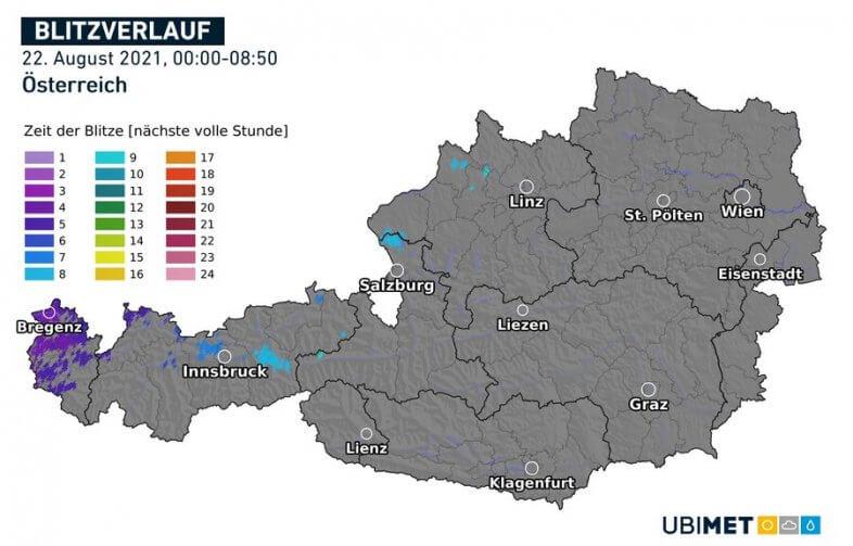 Blitzverlauf in den Morgenstunden am Sonntag - UBIMET, nowcast